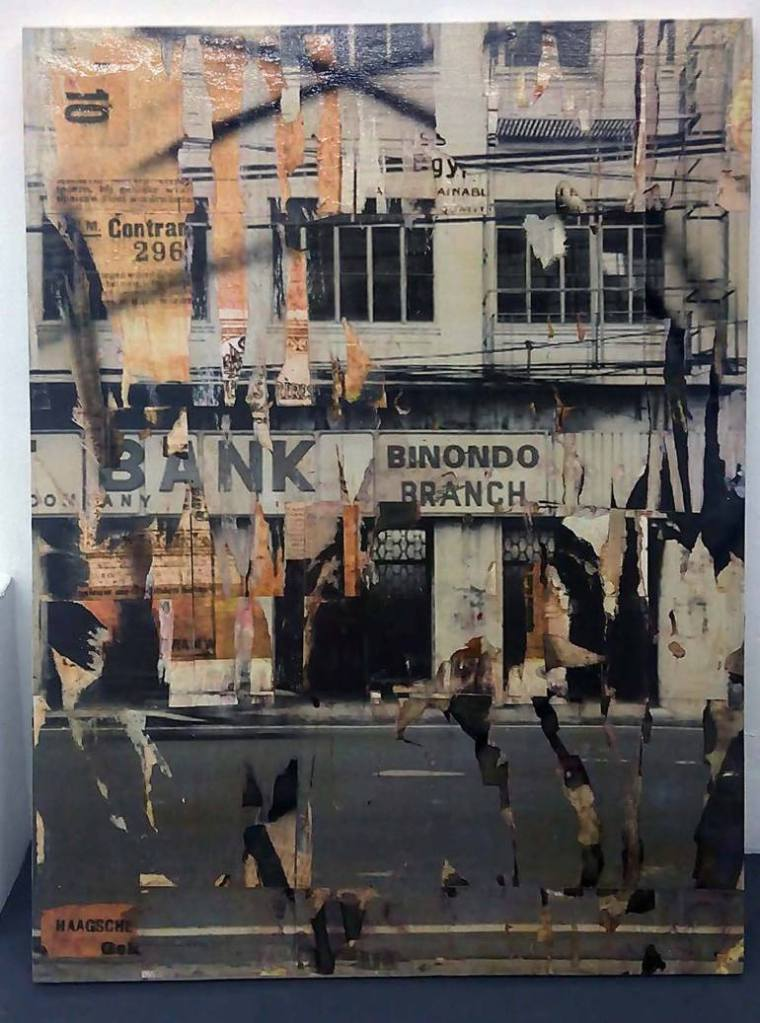 Binondo, collage, acrylic on canvas, 60 x 48 in, 2015
