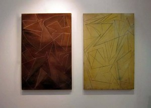 Monolith I and II, acrylic on canvas, 30 x 40 in each, 2008