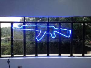 Jihadist Nightclub, neon light installation, 60 x 36 x 5 in, 2013
