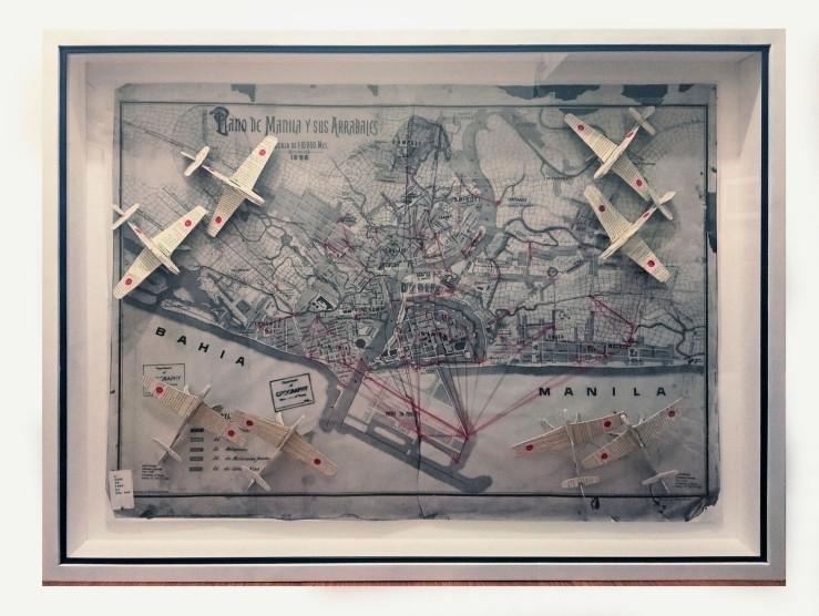 Nazi Literature in Manila (Plano de Manila y sus Arrabales), collage, 36 x 48 in, 2011