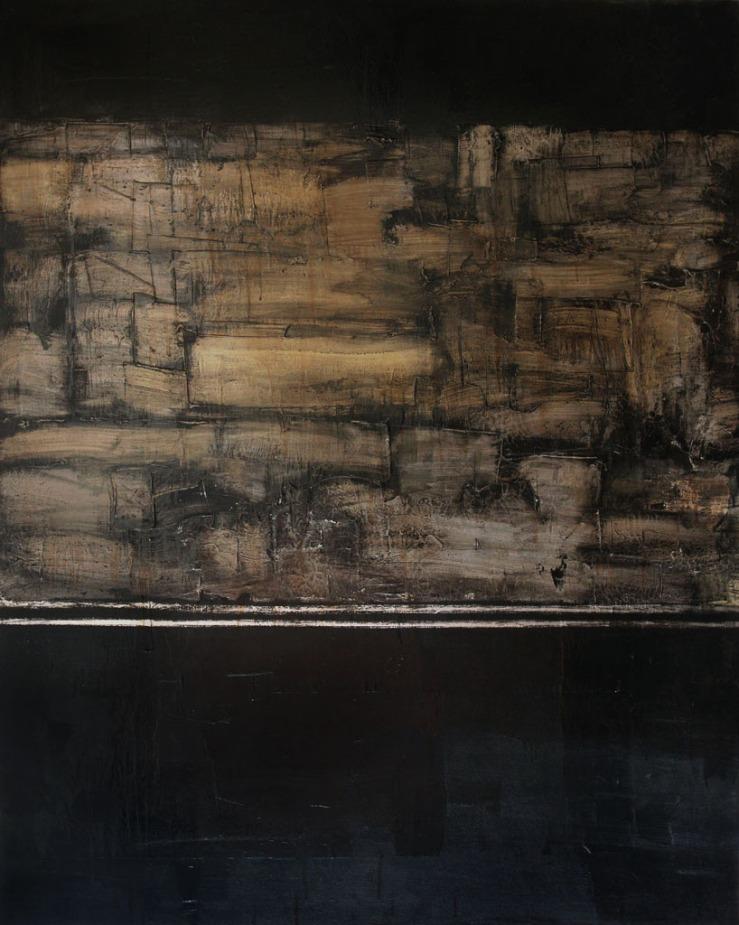 Illuminated Manuscript II, 2017, aluminum oil and spar varnish on canvas, 48 x 60 inches