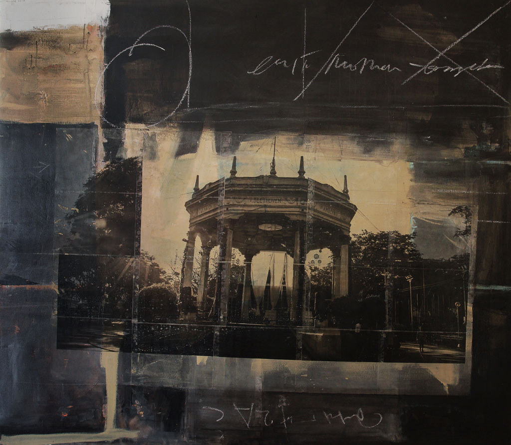 Beethoven Gazebo, 2017, oil and spar varnish on canvas, 65 x 57 inches