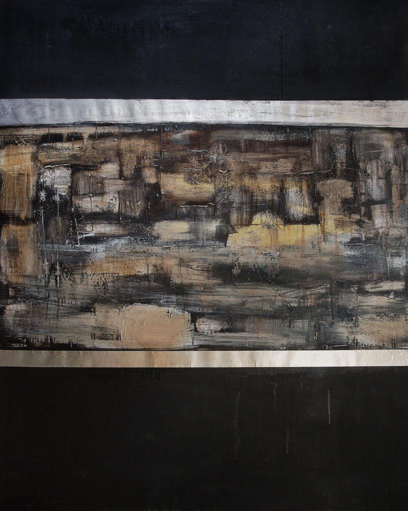 Illuminated Manuscript I, 2017, aluminum oil and spar varnish on canvas, 48 x 60 inches