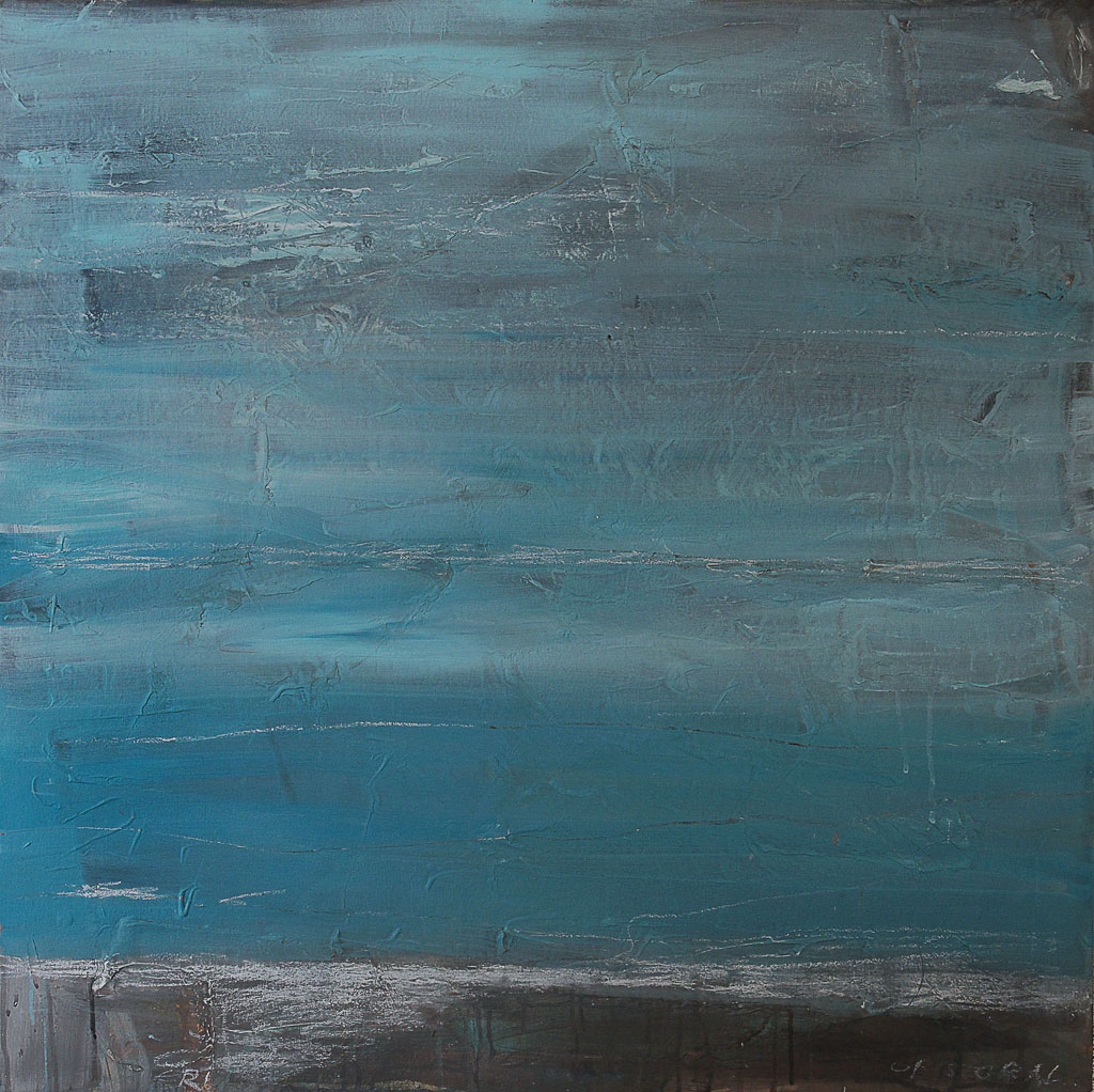 Geography IX, 2011, oil and chalk on canvas, 36 x 36 in