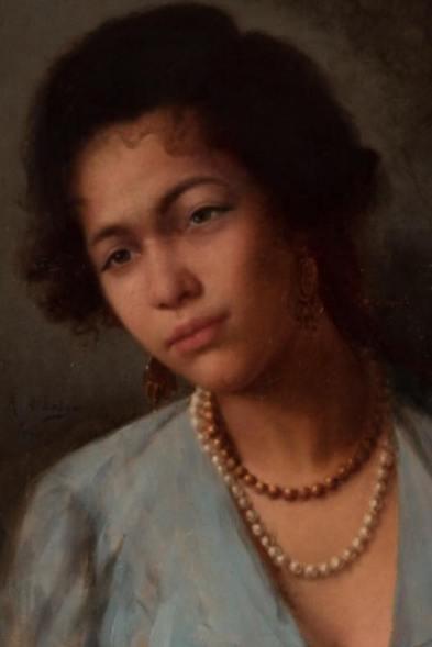 """FÉLIX RESURRECCIÓN HIDALGO Y PADILLA (Filipinas, 1855 – España, 1913). """"Nativa Filipina"""". Óleo sobre lienzo."""
