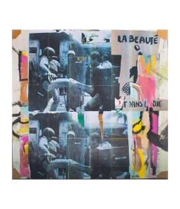 La Botte Dans Le Rue, acetate over acrylic on canvas and collage, 72 x 68 in, 2017