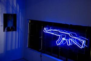 Geronimo Cristobal, Jihadist Night Club, neon light installation, 60 x 36 x 10 in