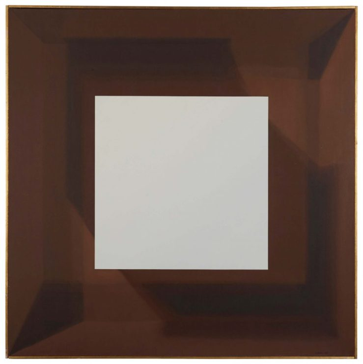 Samia Halaby (Palestine), White Cube in Brown Cube, 1969, Oil on canvas, 48 x 48 in. Collection of the Barjeel Art Foundation, Sharjah, UAE