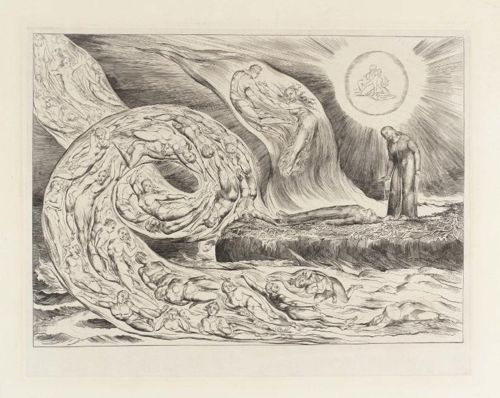 The Circle of the Lustful: Francesca da Rimini ('The Whirlwind of Lovers') 1826-7, reprinted 1892 by William Blake 1757-1827